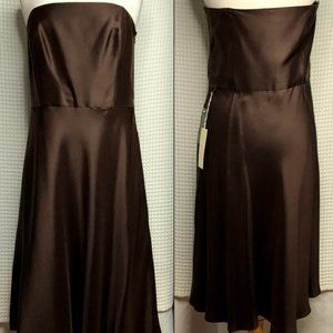 ANN TAYLOR Celebration Brown Satin Strapless Dress
